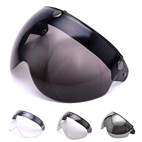 MotorFansClub Pilot-Style Universal 3 Snap-Button Visor Fit For Compatible With Open Face Motorcycle Helmet Wind Shield Flip Up Down Dark Grey