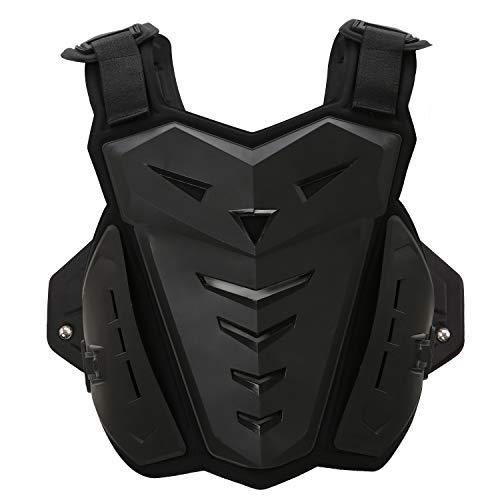 SunTime Motorrad Weste Brustschutz Racing Guard mit Rückenschutz für Motocross Riding Skating Roller Skifahren (Schwarz)