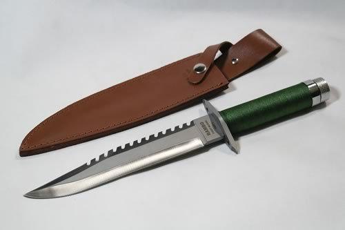 Deluxe Outdoormesser Jagdmesser im Stil 'Rambo I' (K-SUR-1) mit Lederhülle und Gürtelhalter
