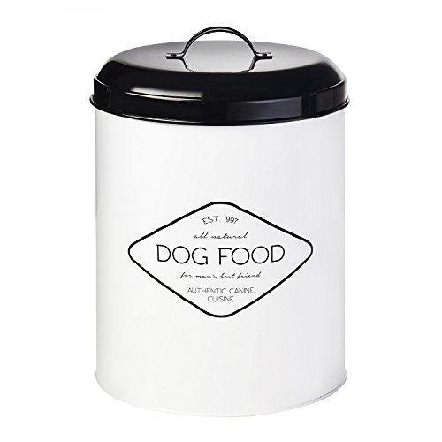 Amici Pet, A7CDI017R Buster All Natural Dog Food Metal Storage Bin, Food Safe, Push Top Rubber Gasket, 17 Pound Capacity