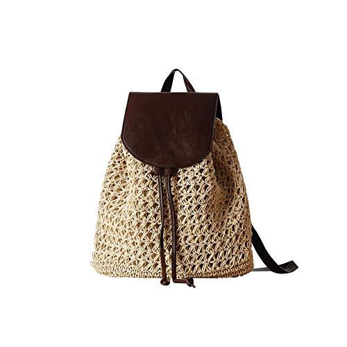 Childlike Moda Bolso De Paja Bolsos, Mujeres Verano Bolsa De Ratán Tejidas A Mano Bolso De Playa para Las Mujeres Bolsa, Funda De Piel Mochila Bolsa De Paja, Moda Vintage Boho Crochet Mujer Bolsa