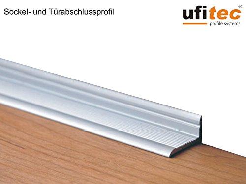 ufitec Sockelprofil SK | für saubere Wand- und Türabschlüsse | Ideal für Renovierungen, Sichtbreite: 18,4 mm, Selbstklebend (150 cm, silber)