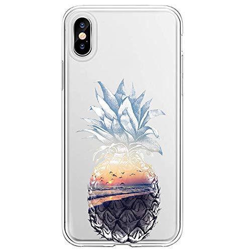 """Neivas Coque iPhone XS Max 6.5"""" 2018 Silicone,Transparente Souple TPU Gel Cover Crystal Fleur Mignon Motif Ultra Mince Anti Choc Protection Étui Housse pour Téléphone iPhone XS/XR (1, iPhone XS)"""
