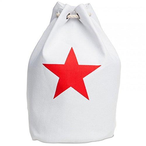 Caspar TS1016 XXL Bolso de Playa para Mujer Petate de Cuerda con Estrella, Color:blanco, Talla:Talla Única