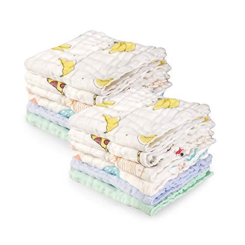 Softan Baby Waschlappen Set, Handtuch 100% Musselin Baumwolle, Baby Geschenk für Neugeborene, 30 x 30 cm