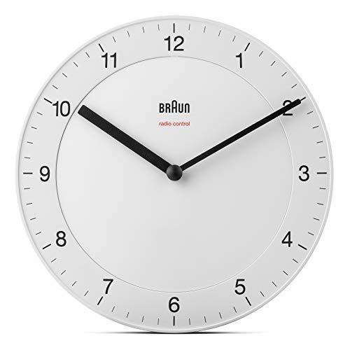 Orologio da Parete Classico Braun Radio controllato per Fuso Orario Europa Centrale (DCF/GMT+1) con Movimento silenzioso, Facile da leggere, Diametro di 20 cm, colore bianco, modello BC06W-DCF.
