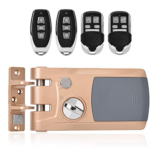 Remote Control Door Lock Kit, Electronic Anti-Theft Lock Home Security Intelligent Lock Anti-Theft Keyless Lock with Four Remote Controllers