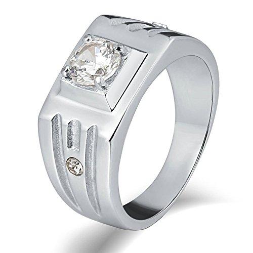 KnSam Anillo para hombre, anillo de boda, rectángulo de acero inoxidable, anillo de sello para hombre, con circonita, plata anillo con grabado gratuito, Acero inoxidable, Circonita cúbica.,