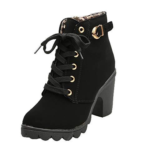 Botines Mujer Tacon Plataforma Botas Invierno Moda 2019 Zapatos Militares con Cordones Botines de Tacón Grueso Zapatos de Discoteca Antideslizante Botin Hebillas Yvelands(Negro, 37)