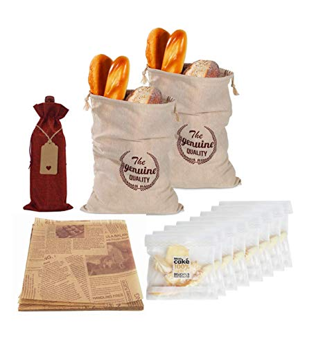 Bread Bags for Homemade Bread Reusable Large Linen Food Storage Bread Bags to Keep Bread Fresh Natural Unbleached with Drawstring,Gift Wine Bag and Parchment,2 Pack,Gifts for Bakers