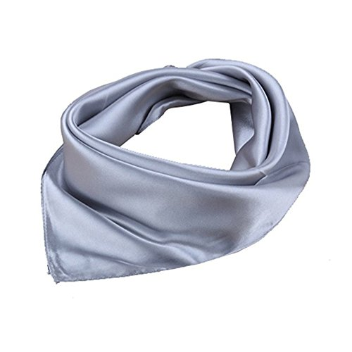 roichic Nickituch aus Satin Einfarbig Tuch Bandana Halstuch für Damen (Grau)