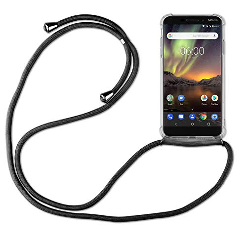 betterfon | Handykette kompatibel mit Nokia 6.1 Smartphone Necklace Hülle mit Band - Schnur mit Hülle zum umhängen in Nokia 6.1 Schwarz