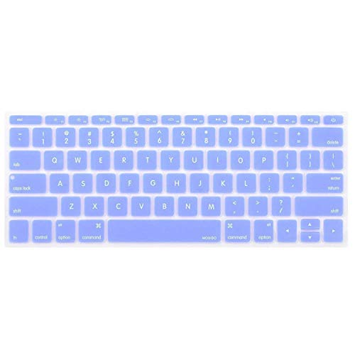MOSISO Silicone Keyboard Cover Protective Skin Compatible with MacBook Pro 13 inch 2017 & 2016 Release A1708 Without Touch Bar, MacBook 12 inch A1534, Serenity Blue