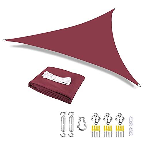 Sun Shade Sail Triangle con kit de hardware Jardín al aire libre Patio Party Party Sun PostScreen Toldo UV Block W-A-T-E-R-P-R-O-O-F Card Jardín de jardín Actividades aire libre,Wine red,3.6x3.6x3.6m