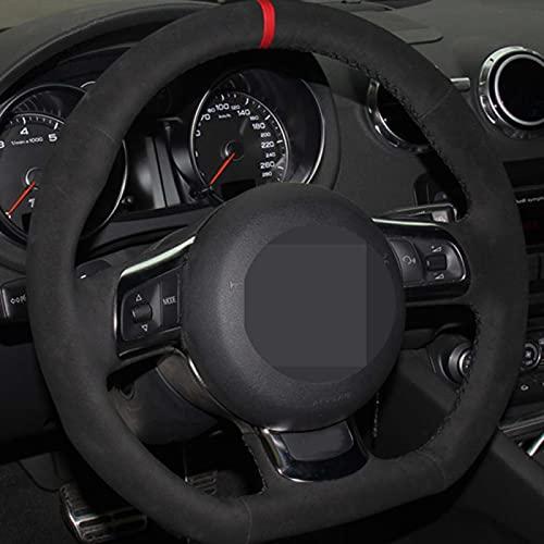 WANGXI Envoltura de la Cubierta del Volante del Coche Cosida a Mano,para Audi A3 S3 (8P) Sportback 2008-2012 R8 TT TTS (8J) 2006-2014,Cubierta Protectora de la manija de dirección