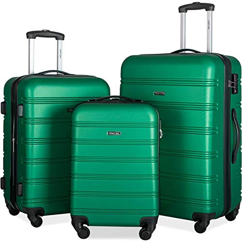 Merax Expandable Luggage Sets with TSA Locks, 3 Piece Lightweight Spinner Suitcase Set (Green.)