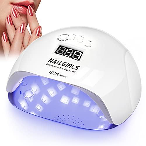 NAILGIRLS LED UV Lamp Nägel,150W Nail Lamp 4 Timer Auto Sensor LCD Display Nagellacktrockner Gerät Abnehmbare Magnet-Platte LED UV Trockner Nagellampe für Gelnägel Finger/Zehennagel Nagelstudio Lampe