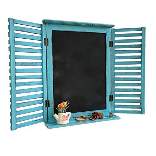NLQZS-Y Vintage jardín Falso Ventana decoración de la Pared de Madera decoración de la Pizarra Colgante de Pared Blue