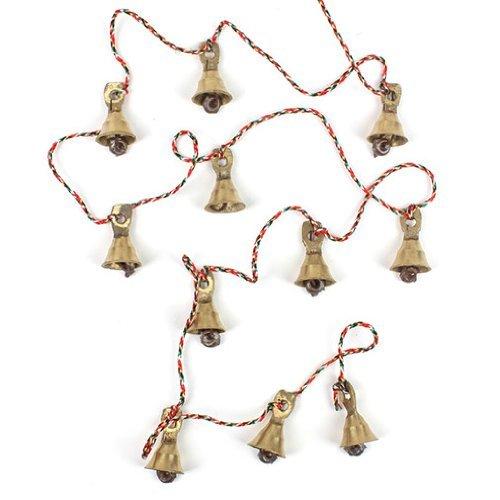 Rastogi Handicrafts Brass Decorative String of 11 Metal Vintage Indian Style Fair Trade Wall Hanging Bells (2)