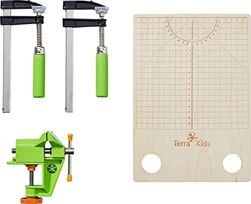 HABA Terra Kids 306012 Schraubstock und Spannschrauben Kinderwerkzeuge 8 Jahre