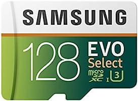Samsung EVO Select 128 GB microSD 100MB/s, Geschwindigkeit, Full HD & 4K UHD Speicherkarte inkl. SD-Adapter für...