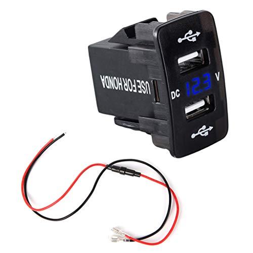 Cargador de Coche Meipai, DC 12V 24V Dual USB Cargador de Coche, Adaptador de Corriente de voltímetro LED, Compatible con HO-NDA