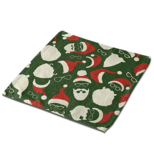 None Branded Santa Hats Beards Eyeglasses Microfiber Dish Cloths Quick Dry Hand Drying Towels Dust Wipes for Washing Dishes Dish Rags Best Kitchen Cloths Cleaning Cloths 3 PCS