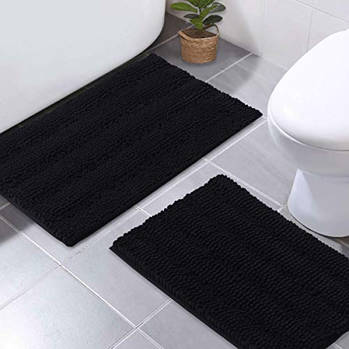 NICETOWN Black Bathroom Floor Mats, Anti-Slip Bath Mats Soft Plush Chenille Yarn Shaggy Living Room Bedroom Shower Entrance Baby Play Puppy-Loved Mat Water Absorbent (20 x 32 Plus 17 x 24 inches)