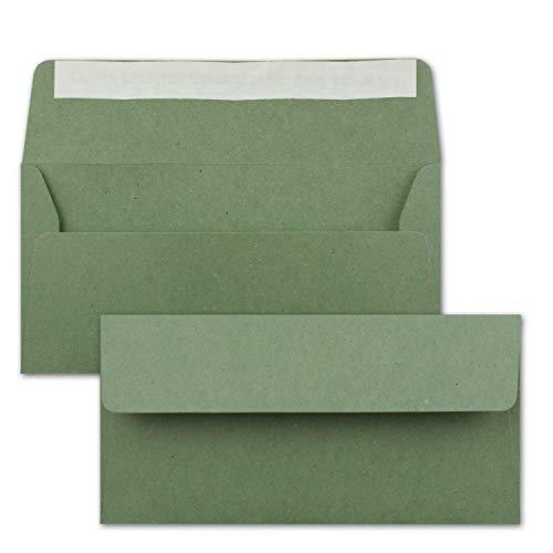 25 sobres de papel de estraza DIN largo, verde, cierre autoadhesivo, 11 x 22 cm, sobres de papel reciclado, sobres vintage de Neuser Paper.