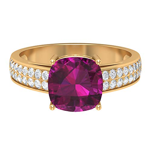 Rosec Jewels 14 quilates oro amarillo cojín Round Brilliant rodolita Moissanite