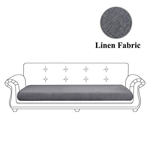 Linen Fabric Sofa Cushion Couch Cover,Sofa Furniture Protector Slipcover with Elastic Bottom, Soft Non-Slip Non-Wrinkle Non-Sticky Suitable for Chair Settee Seat Loveseat(Grey,Oversized Sofa)