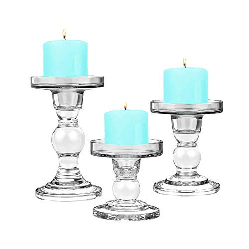 CYS EXCEL Glass Candle Holder Sets (D-3.5' H-3.5'   4.5'   5.5')(Set of 3) Glass Pillar & Taper Candle Holders Wedding Centerpieces Candlestick Holder, Clear