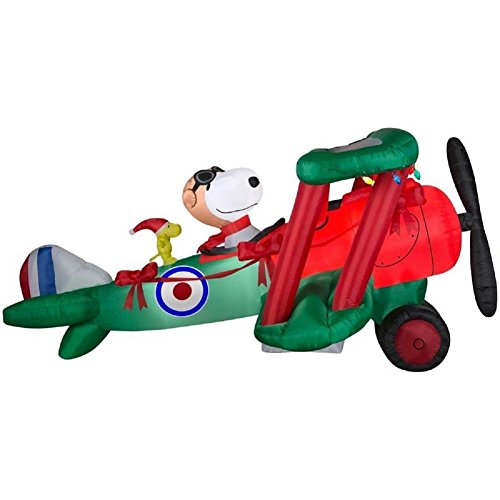 Gemmy Airblown Peanuts 12' Snoopy Flying Ace Woodstock Christmas Inflatable Outdoor Decor