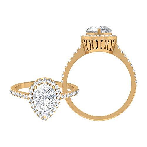 Rosec Jewels 14 quilates oro amarillo pera Round Brilliant Moissanite
