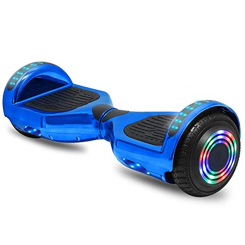 cho 6.5' inch Hoverboard Electric Smart Self Balancing Scooter with Built-in Wireless Speaker LED Wheels and Side Lights Safety Certified (Chrome Blue)