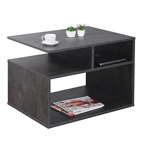 RICOO Couchtisch mit Stauraum 69 x 50 x 50 cm Wohnzimmer Beistell-Tisch Betonoptik Grau – WM095-BG