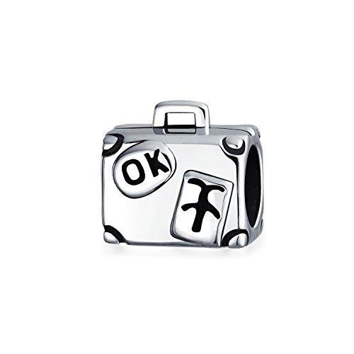 Valigia da viaggio vacanza Porta bagagli Perline per le donne per adolescente ossidato 925 sterling argento si adatta braccialetto europeo