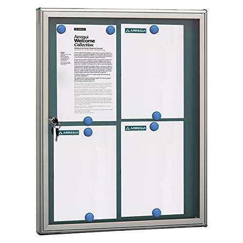Arregui PAN72 Panel de Anuncios de aluminio y metacrilato para 4 hojas DIN A4, plata