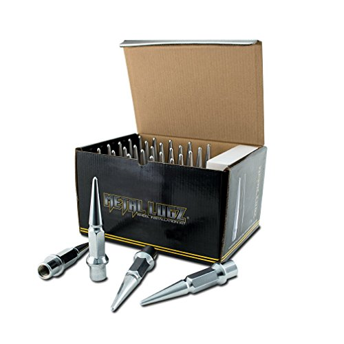 Metal Lugz Spiked Lugz - Dually Chrome 14x1.5 Thread 4.9' Overall Length kit Contains 32 Lugs & 1 Key -7004K8