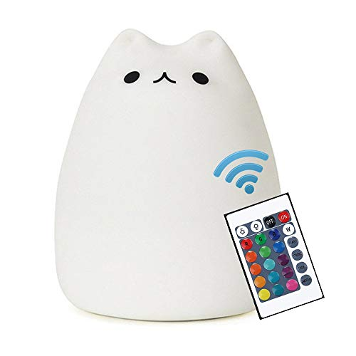 Cat Lamp, NeoJoy Remote Control Silicone Kitty Night Light for Kids Toddler...