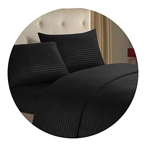 3/4pcs Fashion Bedding Set Stripe Cotton Soft Bedclothes Pure Color Bed Sheet Set,4,King