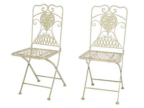 aubaho Chaises de Jardin Pliable - Fer - Style Antique - crème/Blanc - 7kg