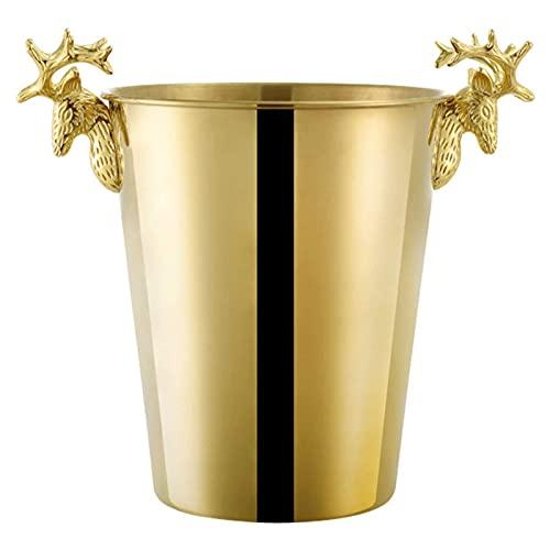 Cubo de hielo cuidadosamente hecho con cuidado de hielo Cubo de hielo de ciervo de acero inoxidable, vino tinto Cubo de hielo Utensilios de vino de lujo, vintage Cubo de champaña de alta gama, oro 16.