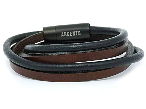Argento – Bracciale in pelle da uomo in acciaio inox – in vera pelle nera marrone e Acciaio inossidabile, cod. S-13.20