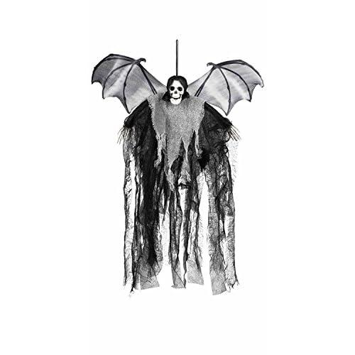 Decorazione appendibile scheletro pipistrello Skull Bat Reaper con ali (60 cm)