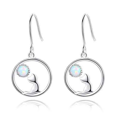VIKI LYNN Pendientes colgantes de plata de ley 925 con diseño de gato y luna con piedras preciosas...