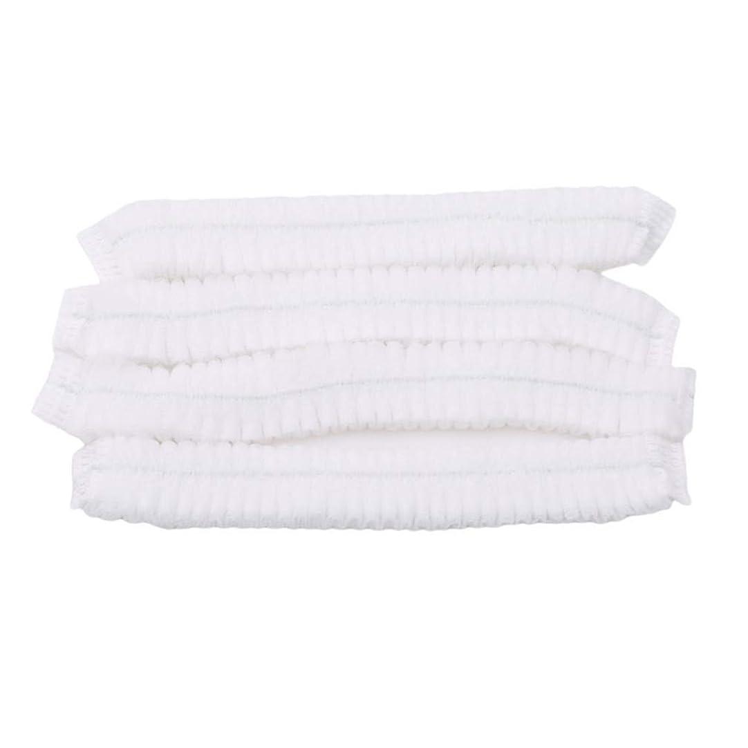 パイロット許可それらLJSLYJ 100ピース不織布使い捨てシャワーキャッププリーツアンチダスト帽子女性男性風呂キャップ用スパヘアーサロン美容アクセサリー、ホワイト