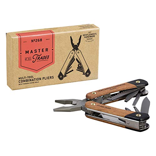Gentlemen's Hardware 12-1 Zange Multitool mit Holzgriffen und titanbeschichteten Edelstahlwerkzeugen