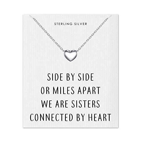 Philip Jones Sterling Silver Sister Heart Necklace with Quote C