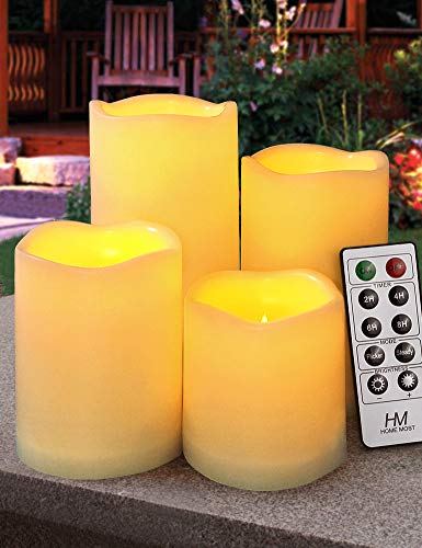 HOME MOST Set of 4 Outdoor Pillar Candles with Timer Waterproof - Battery Operated LED Pillar Candles with Remote 3x3 3x4 3x5 3x6 - Plastic Flickering Flameless Pillar Candles Unscented for Outside